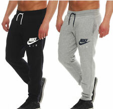 Nike New Men's Air Fleece Swoosh Logo Black Grey Tracksuit Bottoms Joggers Pants