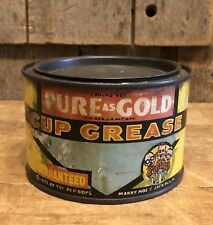 Vintage 1933 Pure As Gold Cup Grease PEP BOYS Gas Service Station 1lb Tin Can