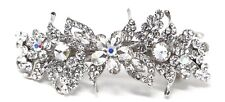 Bridal Barrette Silver Color Rhinestone Crystal Flowers Metal hair claws clip