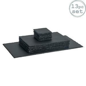 Square Rectangle Slate Placemats x6 Coasters x6 Table Runner x1 Set Padded Feet