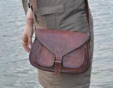 Women Handmade Natural Tan Pure Goat Leather Vintage Messenger Bag