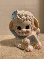 Vintage Lamb Planter Kitschy Big Eyes Ceramic Baby Nursery Pastels Bow Block