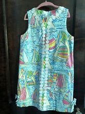 Euc Lilly Pulitzer Girls Delia Shift Dress You Gotta Regatta 14