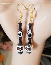 evil eye day of the dead sugar skull earrings dangles skeleton jewelry black