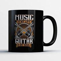 Guitarist Coffee Mug - Guitar Is My Soul - Adorable 11 oz Black Ceramic Tea Cup