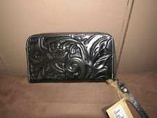 PATRICIA NASH tooled slg Biscay Wallet  BLACK NWT