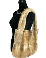 Eureka Vintage 90's 100% Genuine Fox Fur Large Tote Bag Brown Tan