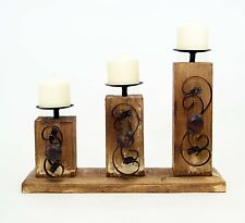 "3 Pillar Candle Holder Rusitc Wood with Scroll Metal Design -12.5""H"