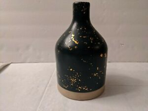 Hearth and Hand Magnolia Stoneware Jug Vase Navy Blue Speckled Gold, Farmhouse