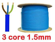 BLUE Arctic Cable 13 amp 16a Mains 3 Core 1.5mm Flex Outdoor Wire sold per metre