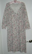 CHARTER CLUB PINK/GREY FLORAL PRINT LONG BRUSHED NIGHTGOWN SIZE L