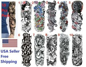 10 pcs Temporary Tattoos Large Full Sleeve Arm Sticker Waterproof Fake Body Tat