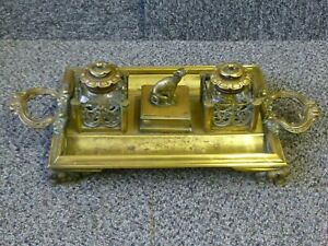 Antique Brass Inkstand Pen Tray with Double Glass Inkwell Greyhound Dog Centre