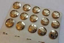 15 X 15mm Esmaltado Dorado Escudo de Armas Botones Blazer librea uniforme