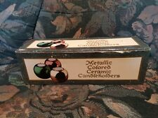 Giftco Metallic Colored Ceramic Candleholders With Box. Gold, Red, And Green.