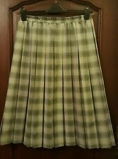 Light Green, Checked, Pleated Skirt - Polyester - size 16 - Excellent Condition!