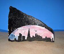 Painted Skyline Scene On Piece Of Granite OOAK