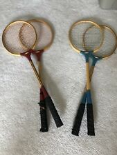 Vintage Set of 4 All Pro Badminton Rackets Blue Red