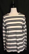 WITCHERY ~ White w Black Striped Long Sleeve Viscose Knit Zip Shoulder Top M