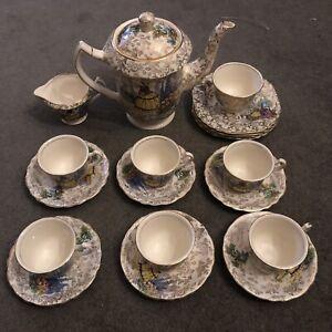 """JAMES KENT VINTAGE """"Crinoline Lady (3087)"""" 21 Piece TEA SET w/UNIQUE TEAPOT"""