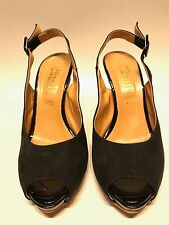 SANDALO DECOLTÉ  NERO IN CAMOSCIO E VERNICE , WOMEN SHOES MADE IN ITALY MIS 37