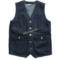 Striped Denim Cowboy Vest Men's Vintage Multi-pocket Work Sleeveless Waistcoat