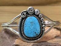 Sterling Silver & Turquoise Cuff Bracelet Signed BMC Weighs 20 Grams