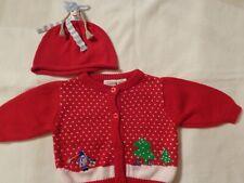 EUC ~ Baby Girl Christmas Sweater & Matching Hat ~ Sz 3-6 Mos