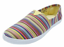 LADIES YELLOW STRIPE CANVAS FLAT SLIP-ON PLIMSOLL PUMPS COMFY CASUAL SHOES 3-8