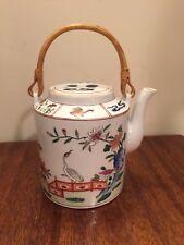 Hong Horizons Tea Pot Bird and Flowers Decorator Piece Handpainted