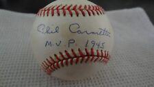 PHIL CAVARETTA MVP 1945  AUTOGRAPHED BASEBALL