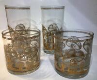 4 Vtg Culver Ltd 22k Gold Magic Mushroom Mycelium 2 Rocks, 2 Highball Glasses