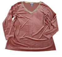 Soft Surroundings Velvet Blouse Women's Size 2X Lace Trim Vneck Long Sleeve Pink