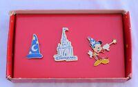 Disneyland Resort Paris SORCERER MICKEY & CASTLE 3 Pin Set - Retired Disney Pins