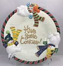 """Fitz And Floyd Classics Christmas Snowman """"Have Some Cookies� Ceramic Plate Dish"""