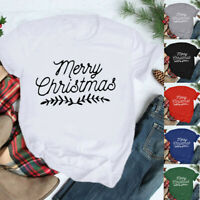 Women's Christmas O-Neck Short Sleeve Letter Printing T-Shirt Casual Blouse Tops