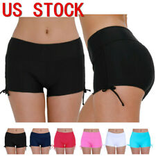 US Womens Swim Shorts Bikini Bottoms Board Shorts Boxer Brief Swimsuit Beachwear