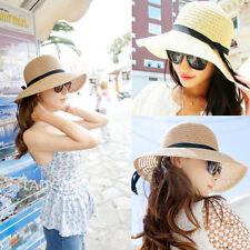 Hot Women's Wide Brim Summer Beach Sun Hat Straw floppy Elegant Bohemia cap KB