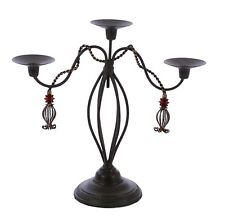 "Iron Triple Taper Candle Holder,Tassel Design, Brown w/ Gold Color-15""H."