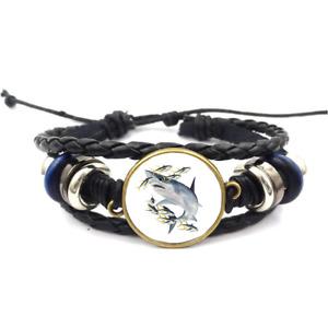 Shark Glass Cabochon Bracelet Braided Leather Strap Bracelets*