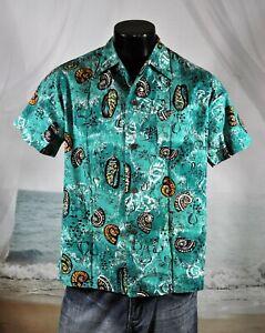 1950's SHAHEEN'S of Honolulu Cotton Vintage HAWAIIAN SHIRT Sz M Green SEASHELLS