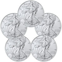 2017 1 Troy oz. American Silver Eagle - Lot of 5 Coins SKU44363