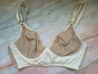 FORTNIGHT Bra Bralette Beige Nude Sheer Cups Wirefree Longline 34D