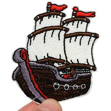 Sailing ship Iron on patch Sail regatta boat captain cook - embroidery patches