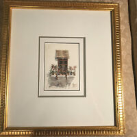 """Nice """"Balcony With Plants Scene"""" Watercolor Painting - Signed And Framed"""