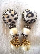 PRE-OWNED ANIMAL PRINT & MARBLED WHITE PLASTIC BEAD DROP-DANGLE POST EARRINGS