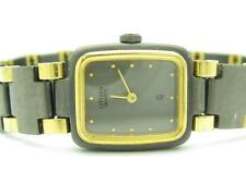 Vintage Citizen Quartz Rectangular Black Ion Plated Gold Tone Watch New Battery