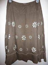 Phase Eight grey mid length A line linen skirt. Size 10