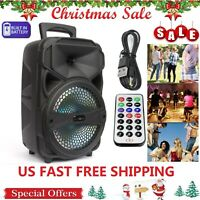 """Portable Party Speaker 8"""" USB Bluetooth FM Loud Bass Sound Rechargeable Remote"""