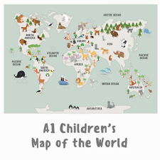 Children's A1 Animal Map of the World Large Poster Print Wall Art for Kids Room